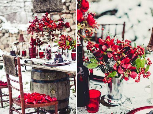 Tischdeko winterhochzeit  Rot und Weiß wie im Weihnachstmärchen: Die Farben der der ...