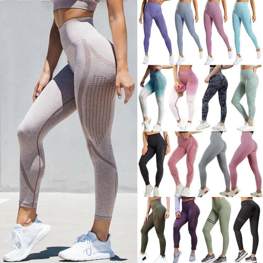 Women High Waist Yoga Pants Fitness Leggings Running Gym Workout Sports Trousers