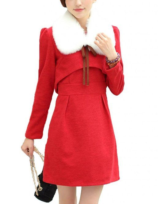BeautyAdele 2015 New Womens Fur Collar Splicing Woolen Fake Two-piece Dress at Amazon Women's Clothing store: