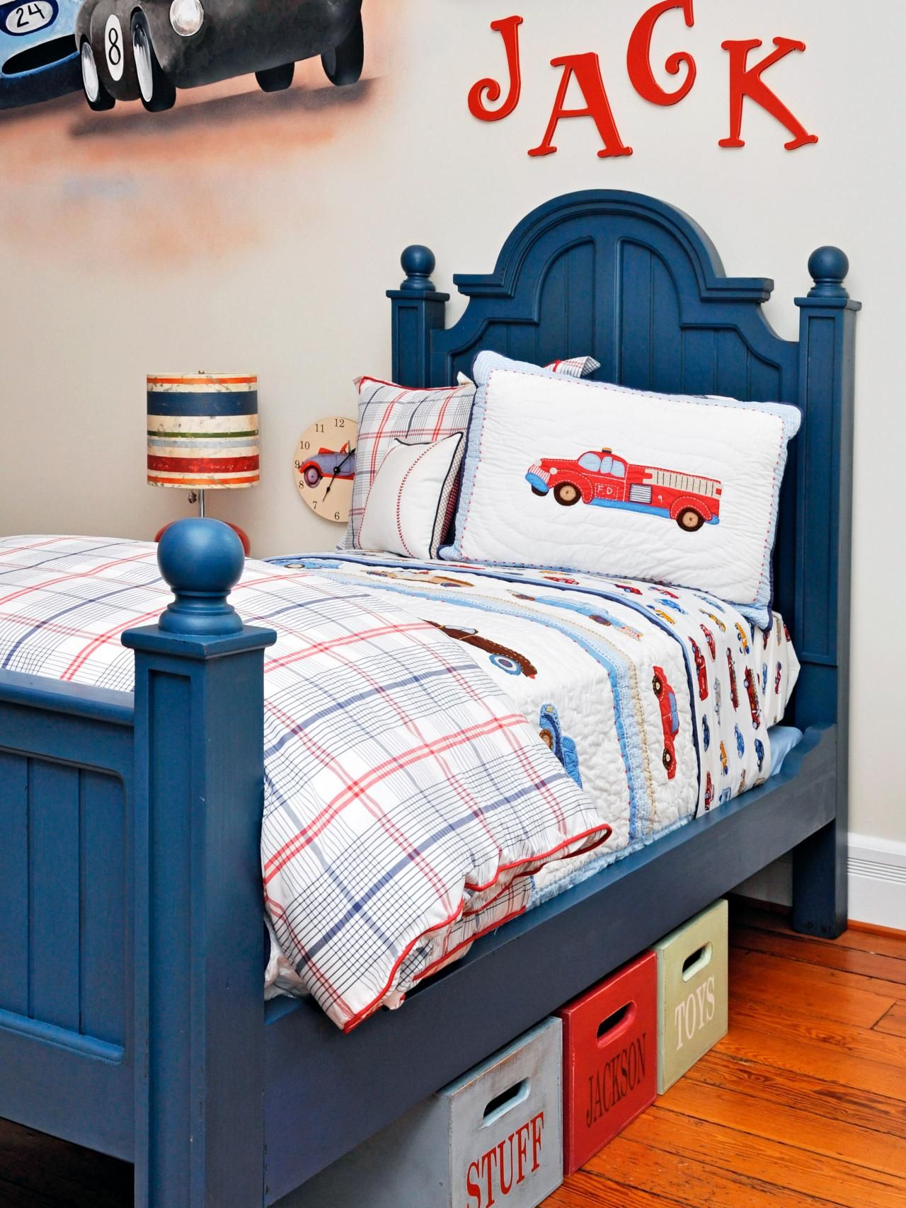 We love the varieties of cars in this room, from bedding with ...