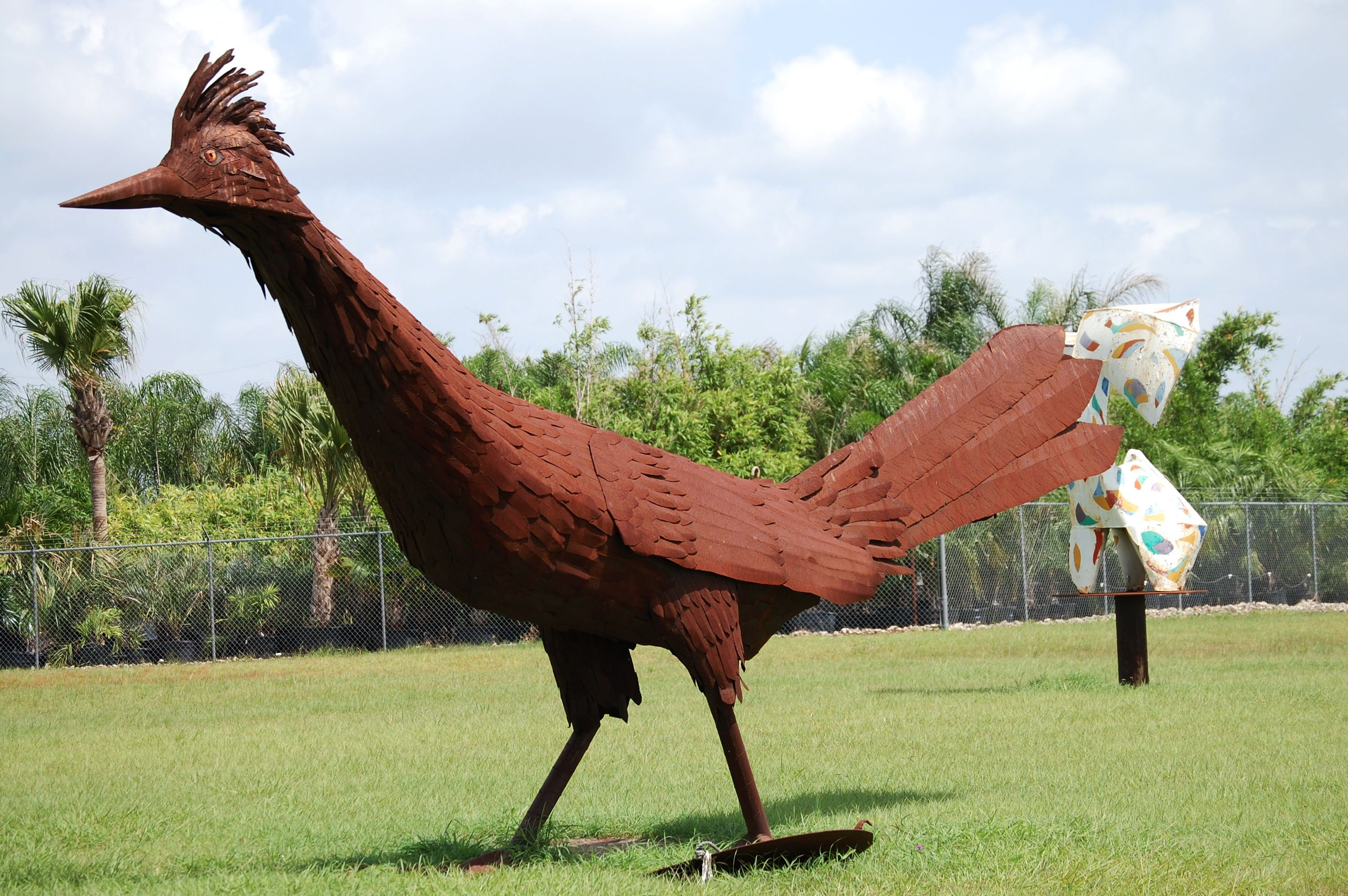 Giant roadrunner - one of many giant scrap metal animals at