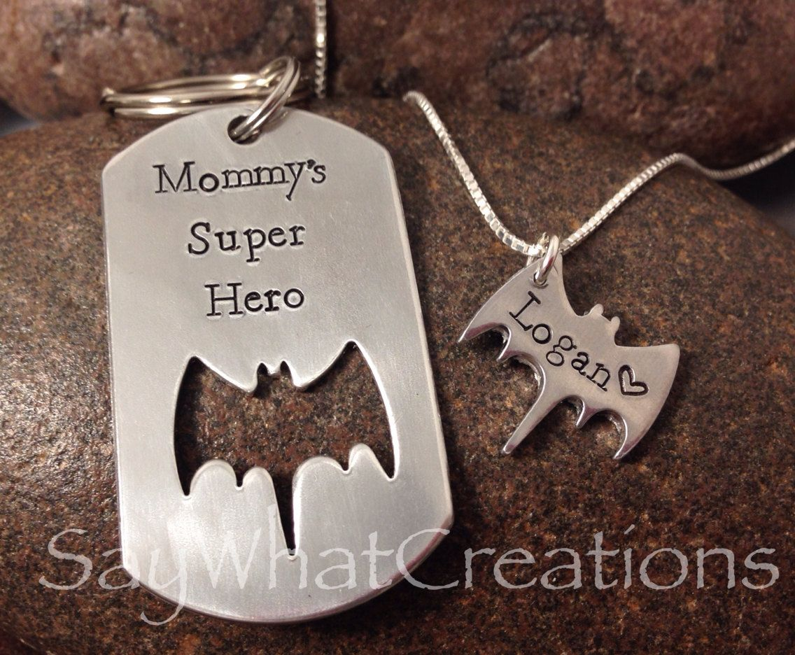 Mother/Son Batman matching set with dog tag and bat necklace ...