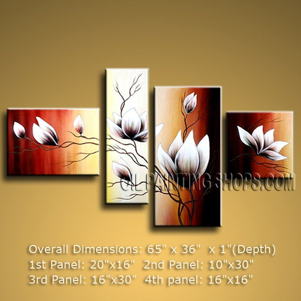 Hand-Painted Large 4 Panels Wall Art For Interior Design ...