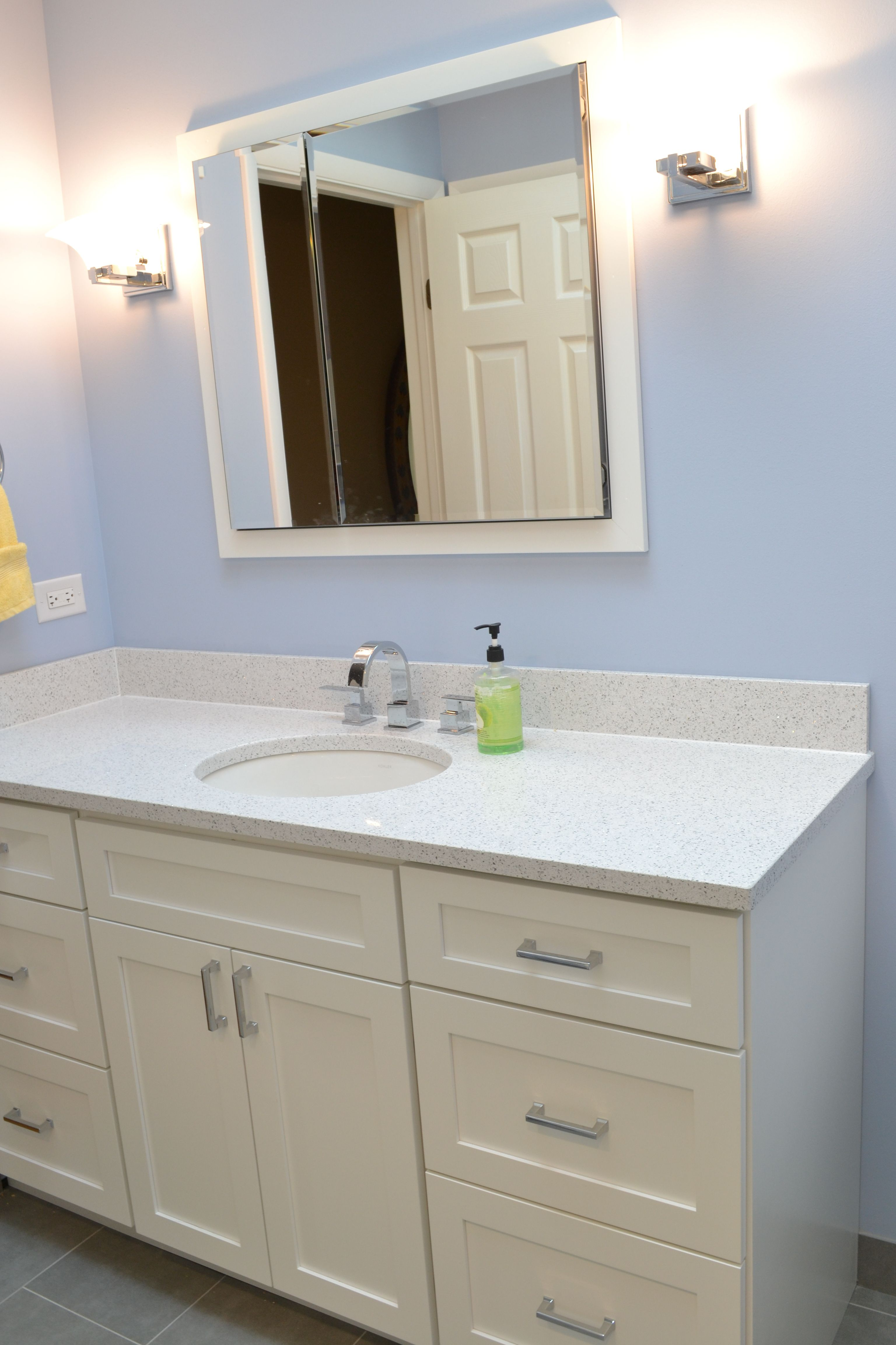 Cambria Quartz Color Whitney Paired With Painted White Vanity Cabinets Bathroom Cabinet Colors Custom Bathroom Vanity Main Bathroom Ideas