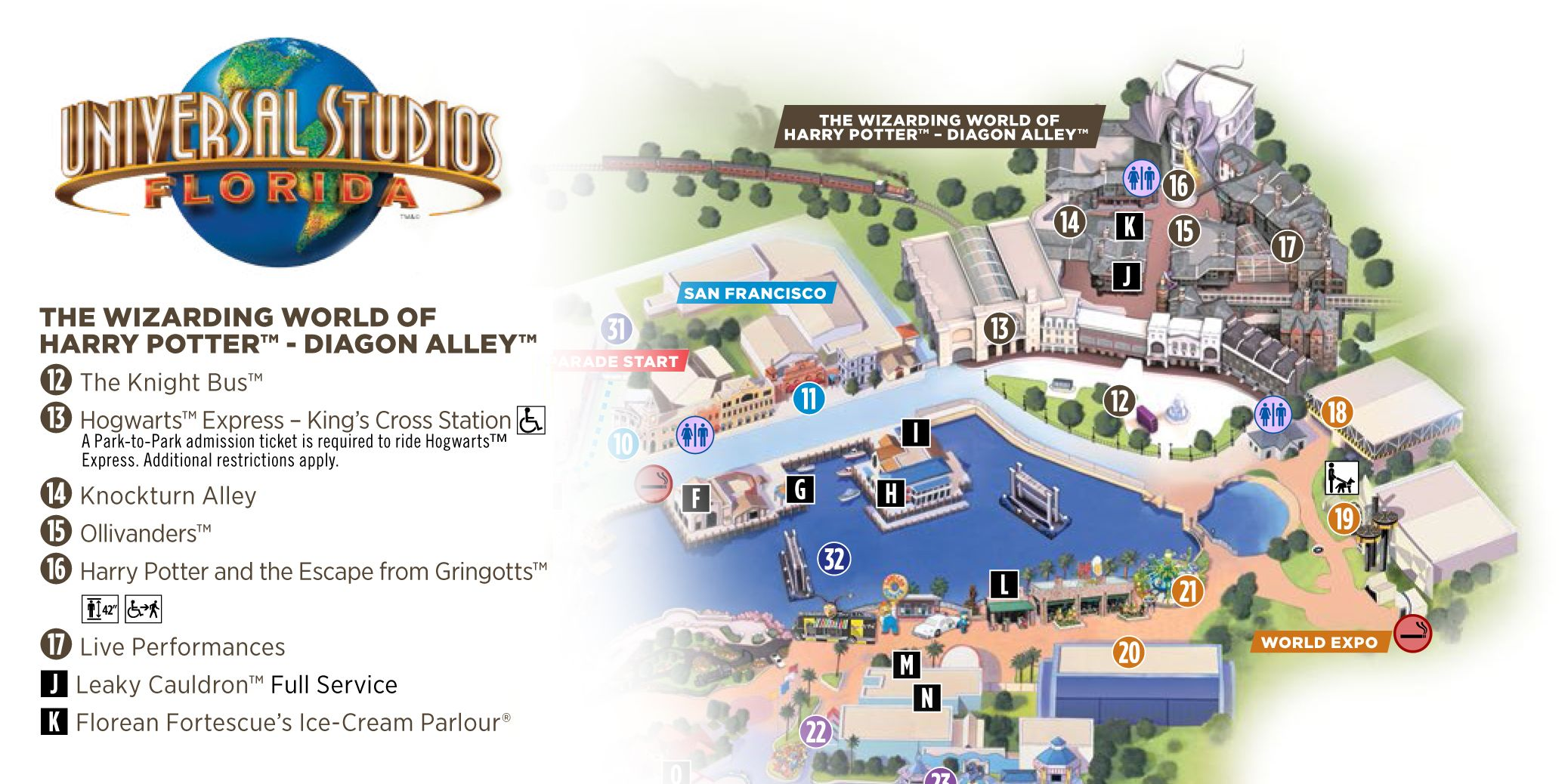 Harry Potter World Florida Map.Universal Studios Florida Diagon Alley Map Potter Party