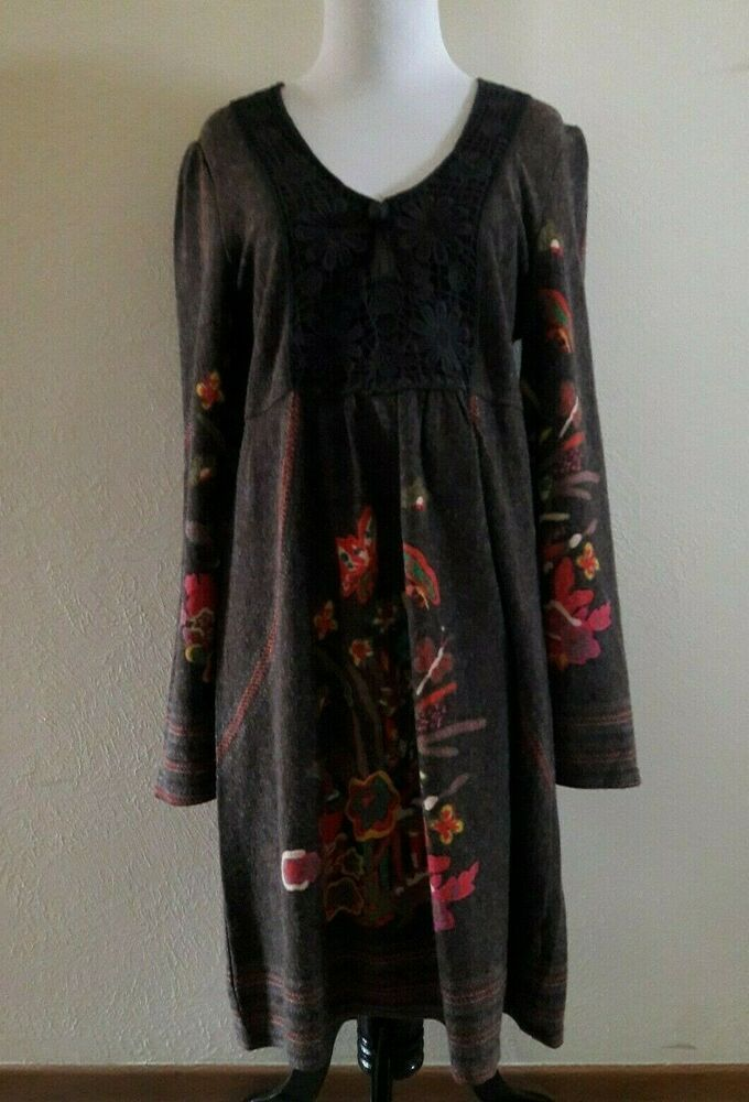 29962399709 Aryeh Womens Dress Sweater Tunic Brown Floral Butterfly Boho Crochet Size  Medium  fashion  clothing