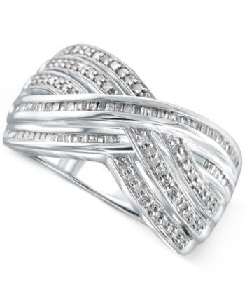 Diamond Crisscross Ring 1 2 Ct T W In Sterling Silver Silver