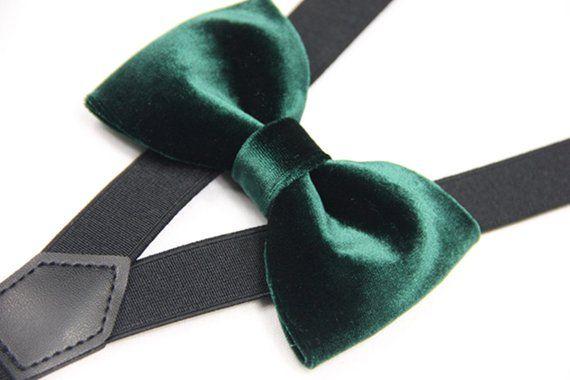 90216fab5dfe Suspender Bowtie set dark green velvet bow tie black Suspender baby Bowties  Toddler bowties suspende