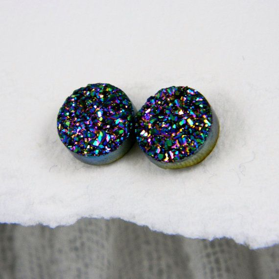 Peacock Titanium Drusy / Druzy Quartz Stud Earrings with Sterling Silver posts