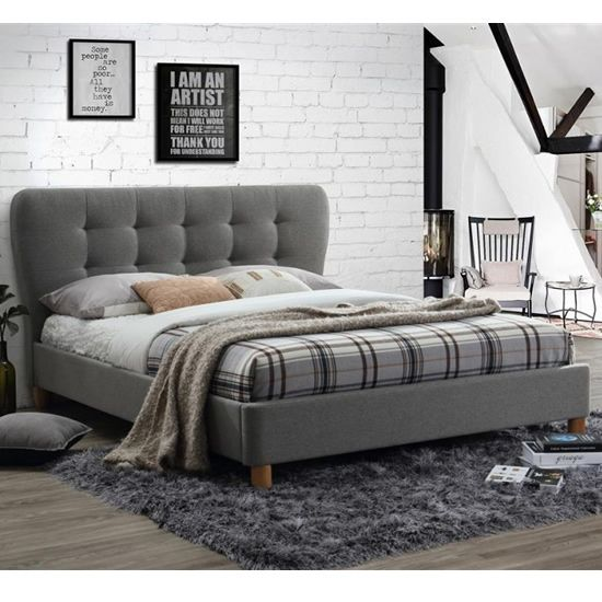 Amazing Simple and stylish upholstered bed frame in a grey soft touch fabric Features a simple Style - Beautiful upholstered bed frame and headboard Picture