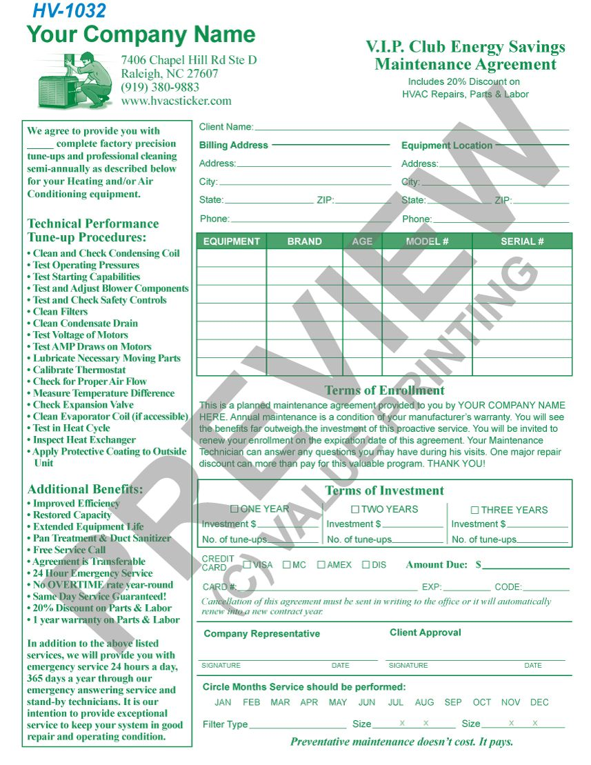 HV-1006 HVAC Maintenance Service Agreement Contract #1 | Value ...