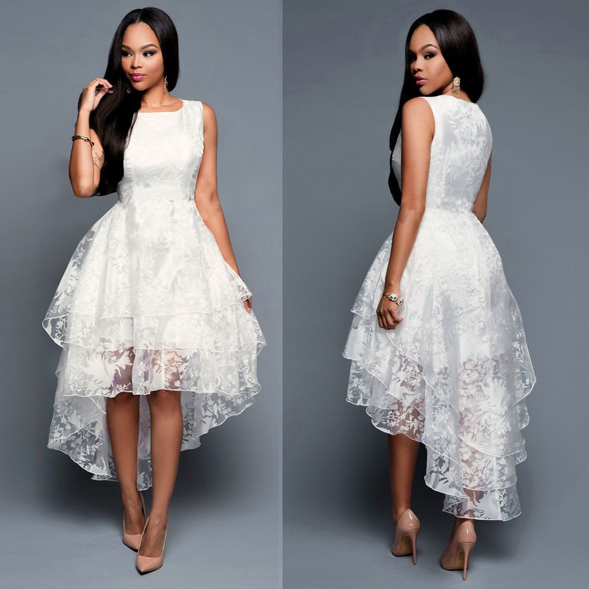 Women lace prom floral formal evening cocktail party bridesmaids