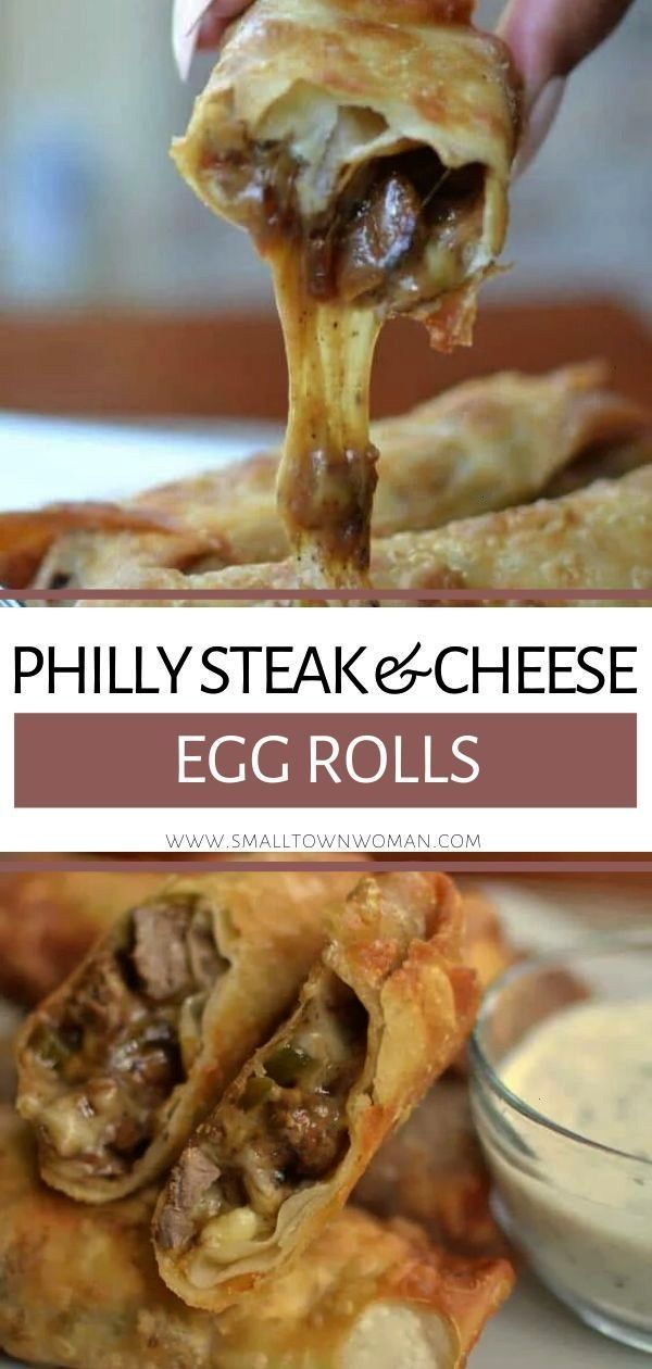 Steak  Awesome Philly Steak & Cheese Egg Rolls perfect for game days or holiday parties! These appe