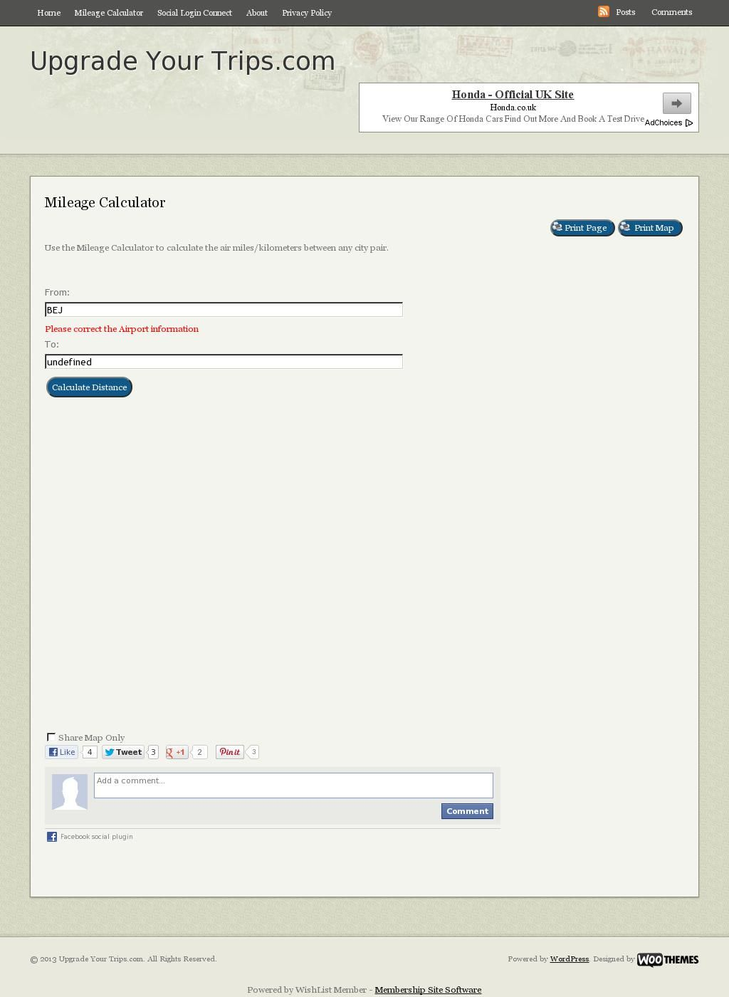 just used the air mileage calculator at http upgradeyourtrips com