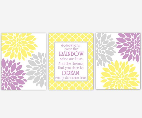 Baby Girl Nursery Wall Art Yellow Purple by DezignerheartDesigns ...