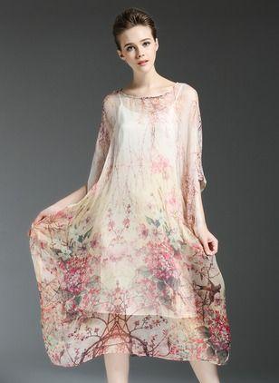 e2a60052902 floryday Silk Floral 3 4 Sleeves Mid-Calf Vintage…