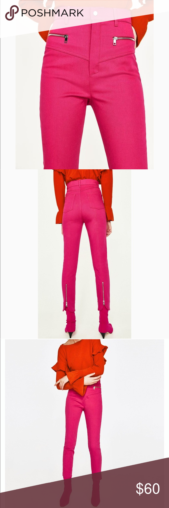 d2e1acef ZARA High Rise Pink Zipper Trouser Pants Jeans NWT Zara Woman Fuchsia Hot  Pink Angle Crop
