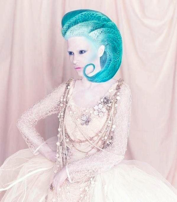 This incredible image is part of stylist's Manuel Mon's breathtaking Crisalida collection. Photog: Bernardo Baragano #HotOnBeauty #FantasyHair #TurquoiseHair