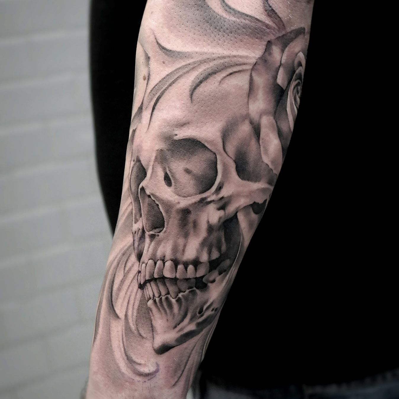 black and gray skull artist janissvars blackandgray blackngray skull sleeve tattoo. Black Bedroom Furniture Sets. Home Design Ideas