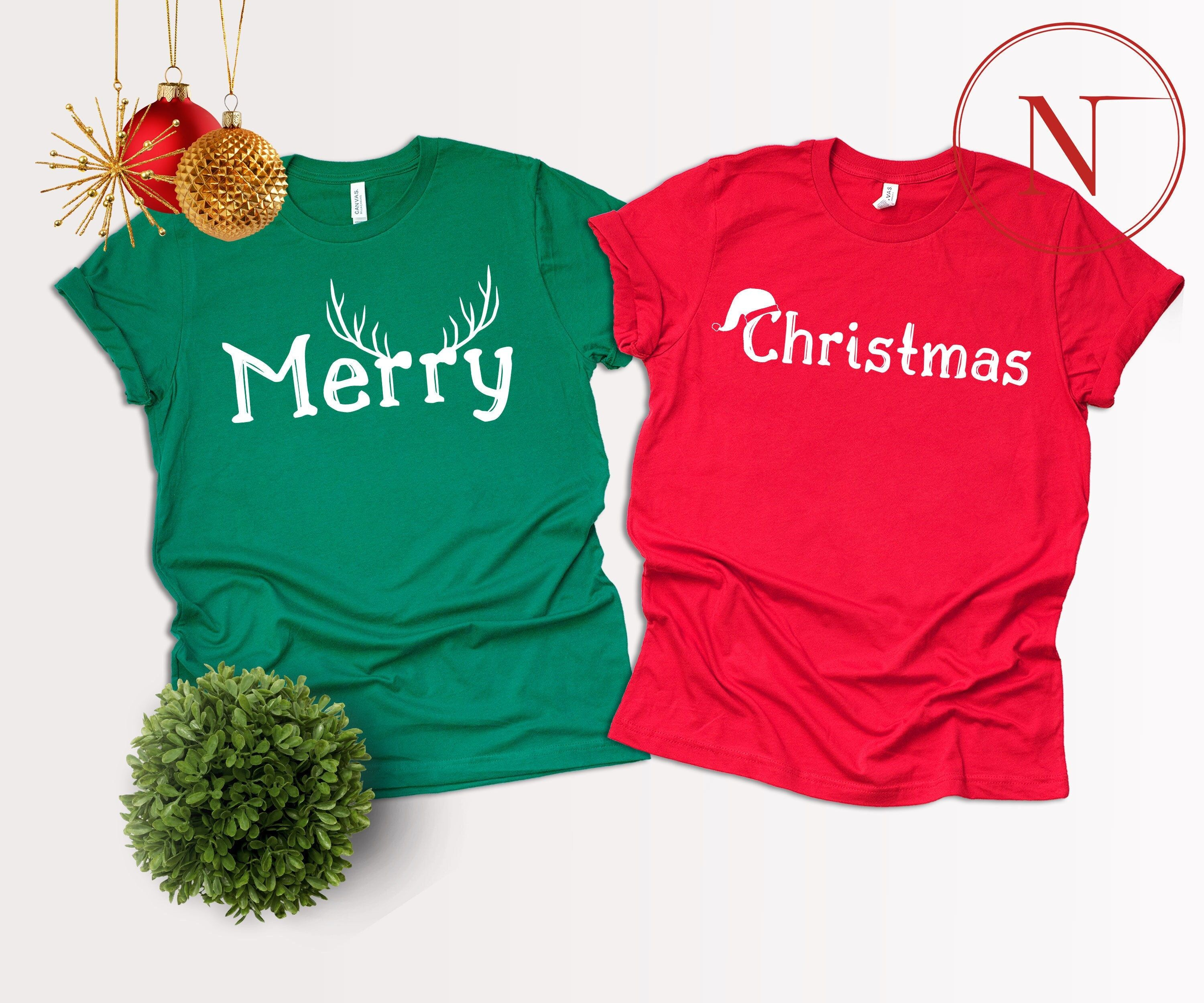 """""""Merry Deer Shirt, Christmas Santa Hat Shirt, Merry Christmas Matching Shirt, Christmas Couple Shirt, Holiday Xmas Shirt Gift Hello! Welcome to our store, We are glad to see you here. We are sure you will love our designs. We have 7/24 customer support if you have any questions please contact us. HOW TO ORDER- 1-) Please, Check and Review all Photos. 2-) Select Your T-shirt Color. 3-) Select Your T-shirt Size. 4-) Choose Your Quantity as much as you want. 5-)Please click the \""""Proceed to Check O"""