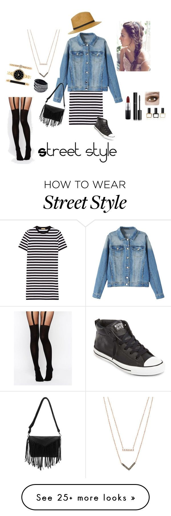 """""""Street Style"""" by kristenlba on Polyvore featuring Topshop, Michael Kors, Converse, MAC Cosmetics, Chanel, Balmain, Style & Co. and ASOS"""