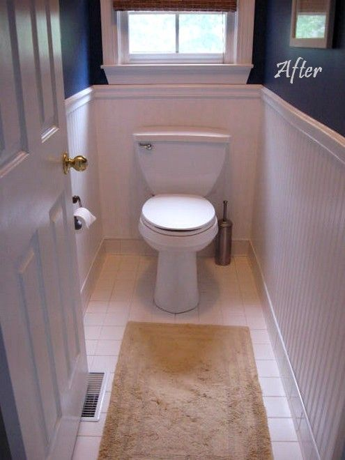Love This Beadboard Paintable Wallpaper Idea For The Master Bath Easier To Install Behind Toilet And Looks Real With Chair Rail Trim 25