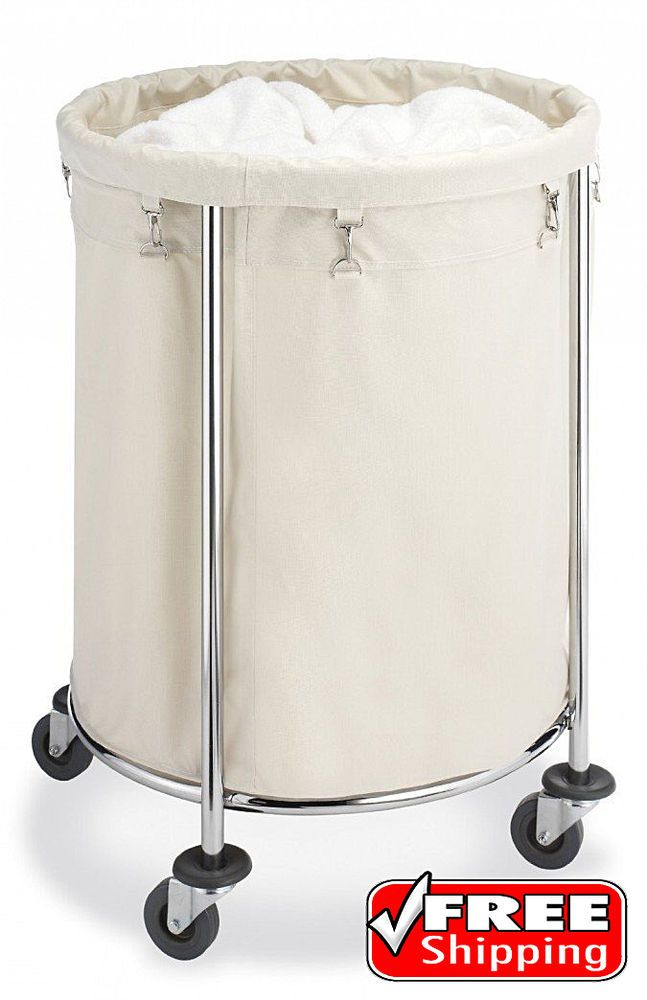 Details about Commercial Round Laundry Hamper Bin Basket Rolling ...