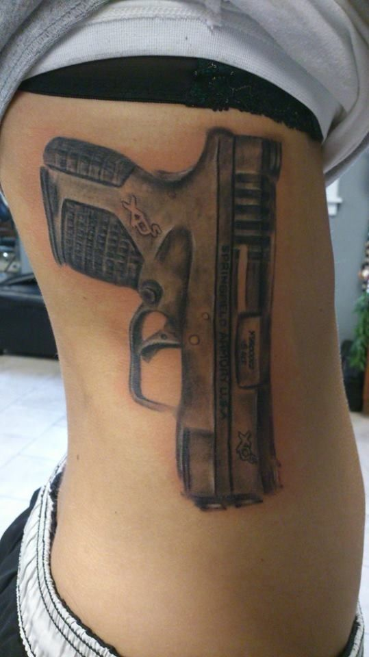 My life size gun tattoo springfield xds 45 tattoos for How to put ink in a tattoo gun
