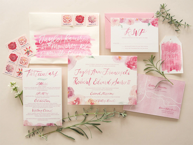 pink floral watercolor wedding invitations - Watercolor Wedding Invitations