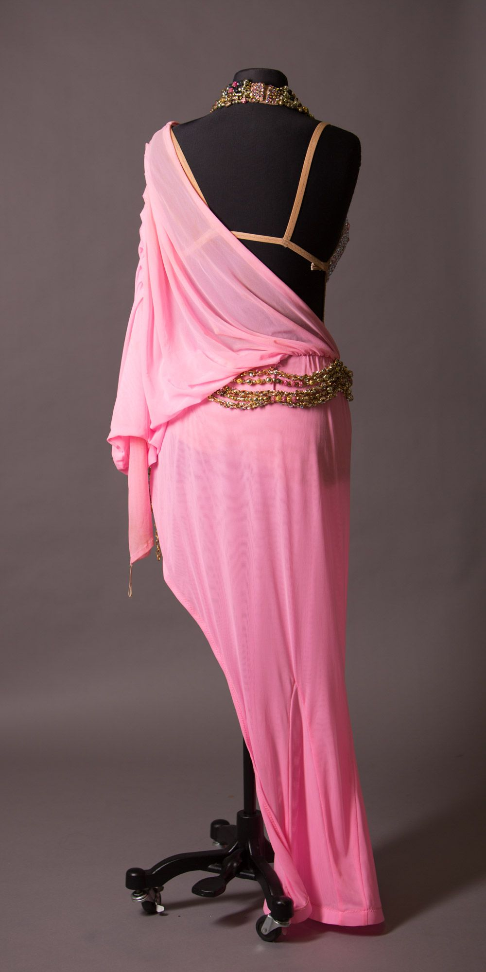 Pink drape latin with fully stoned bra cup and chunky strands around ...
