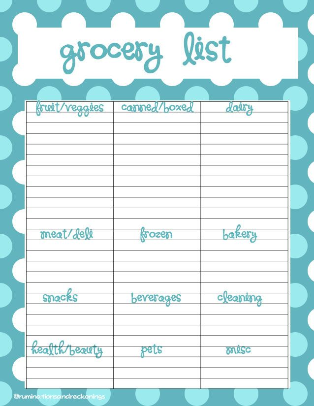 Grocery List @ruminationsandreckonings Organization - grocery template printable