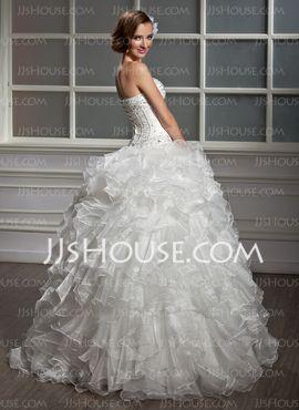 Ball-Gown Sweetheart Floor-Length Organza Satin Wedding Dress With Beadwork Sequins (002013819) - JJsHouse