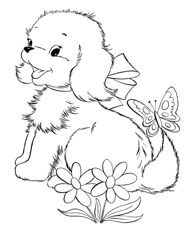 Cute Baby Puppies And Butterfly Coloring Page Riscos 1