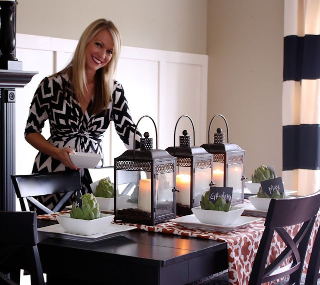 I Love Sarah S Fall Themed Dining Table Decor Complete With Artichokes Holding Gue Dining Room Table Centerpieces Dinning Table Centerpiece Dining Table Decor