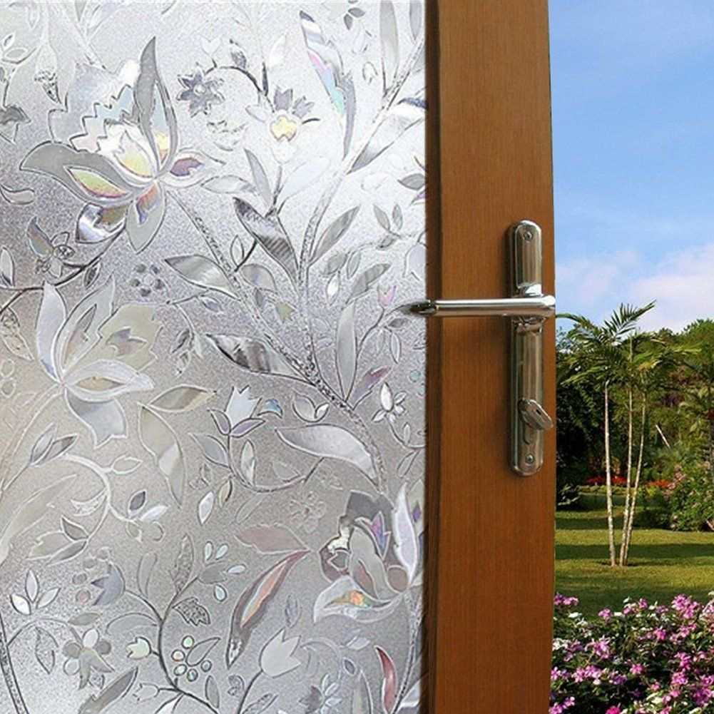 Becry Vinyl Static Cling White Clear Flower Pattern Decorative