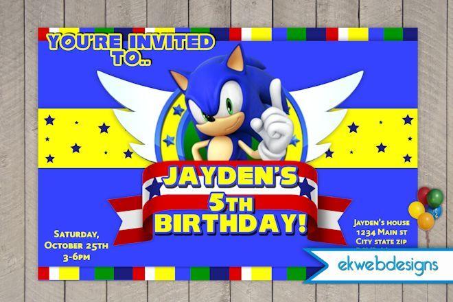 Sonic The Hedgehog Birthday Invitation sonic bday – Sonic Birthday Invitations