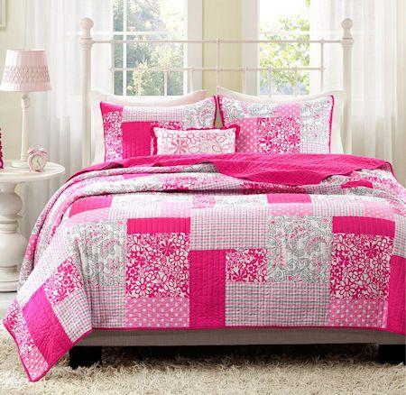 Modern Hot Pink Floral Patchwork Girls Bedding Twin Xl Fullqueen