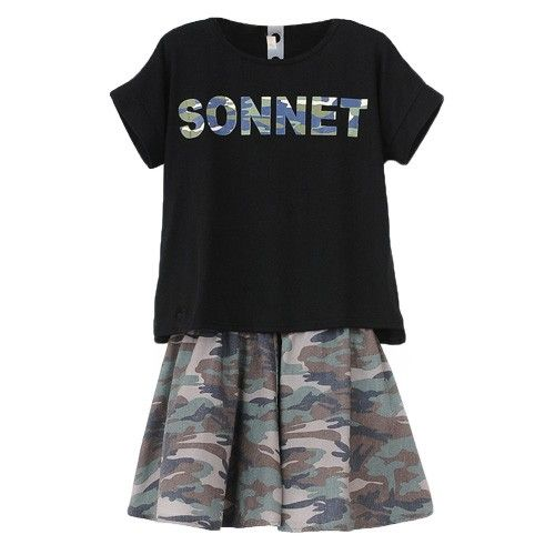 Camouflage Letter Print Short Sleeve T-shirt + Camouflage Skirt Two Piece Suit