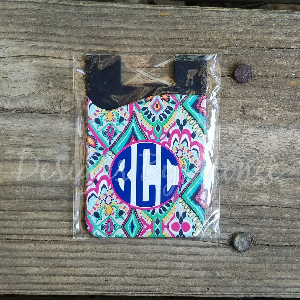 Lily Inspired Monogrammed Crown Jewel Phone Card Holder