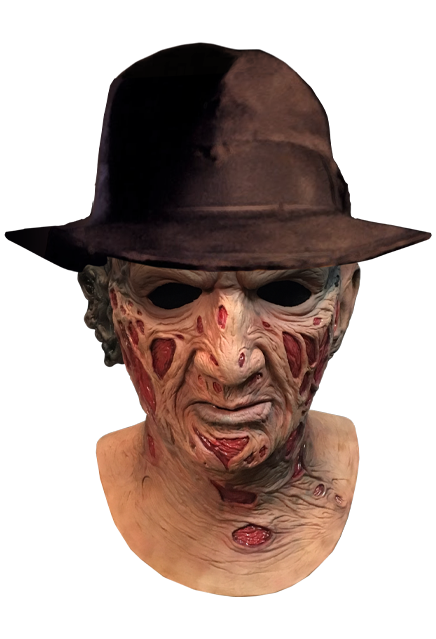 Get It Now A Nightmare On Elm Street Deluxe Freddy Krueger Mask With Fedora Halloween Lifelike Mas Halloween Masks Animated Halloween Props Freddy Krueger Mask