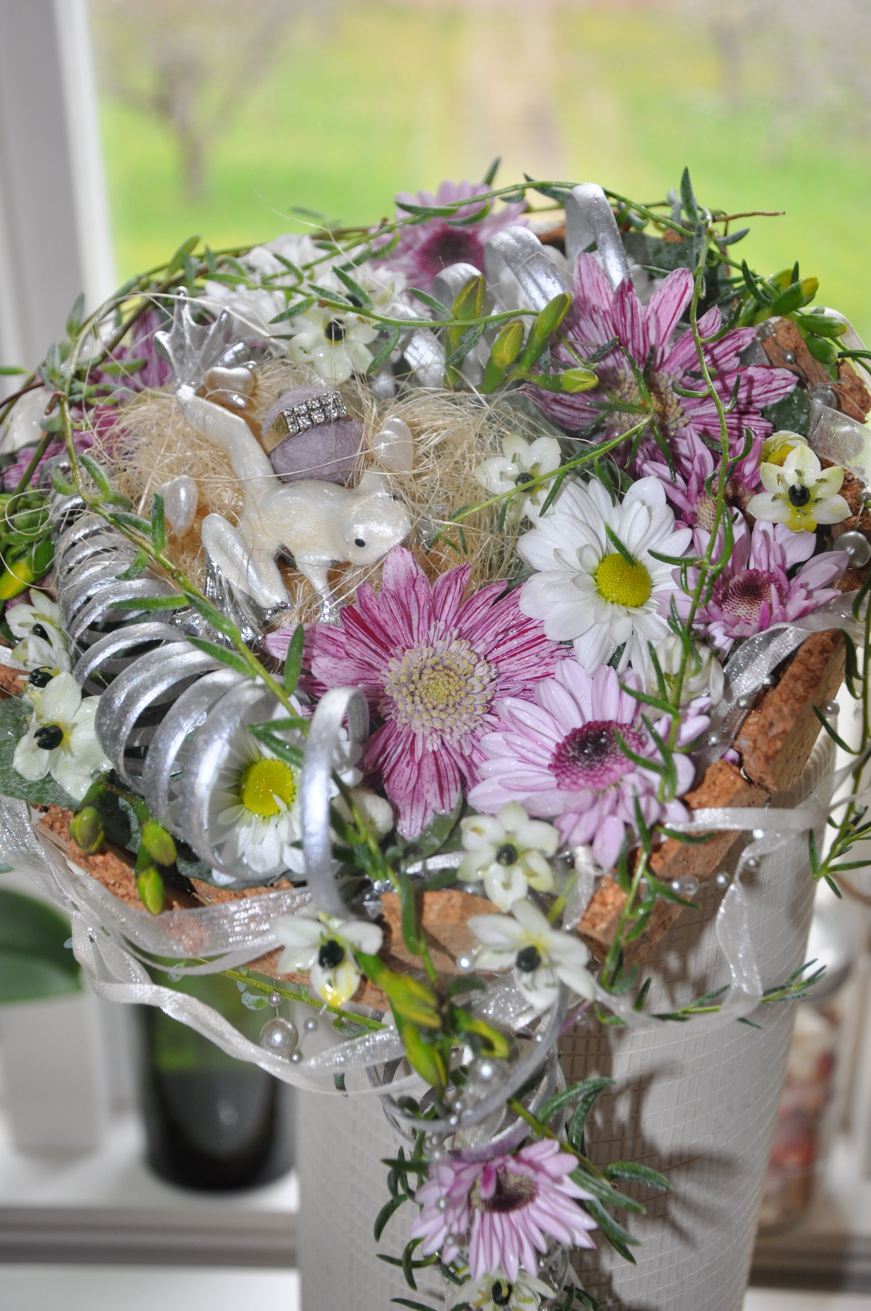 Bridal bouquet with a frog prince beautiful chrysanthemum and the