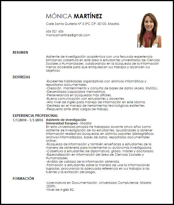 Modelo Curriculum Vitae Asistente De Investigacion Academica Curri