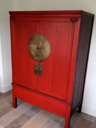 Authentieke Originele Antieke Chinese Bruidskast Rood