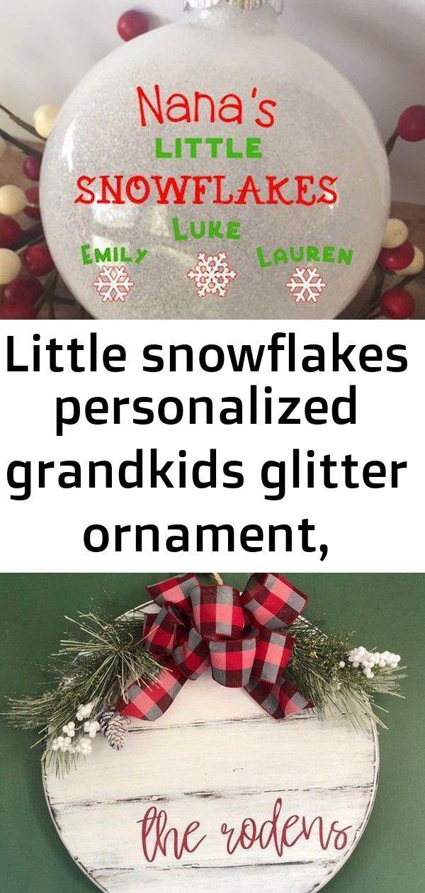 Little snowflakes personalized grandkids glitter ornament, christmas glitter ornament, grandkids 12 #hangersnowflake