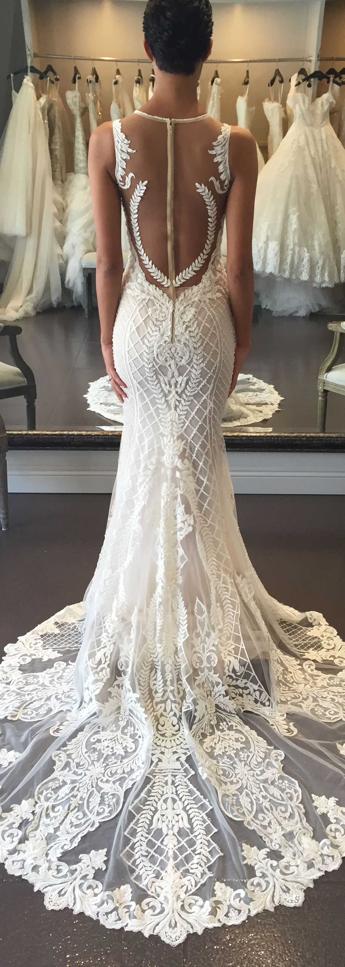 Love love love the pattered lacework on this bertabridal dress Dont like the zipper