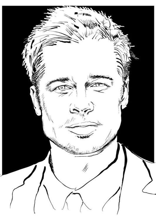 Dibujo Para Colorear Brad Pitt Img 24686 Paginas Para Colorear Dibujos Para Colorear Ilustracion Vectorial