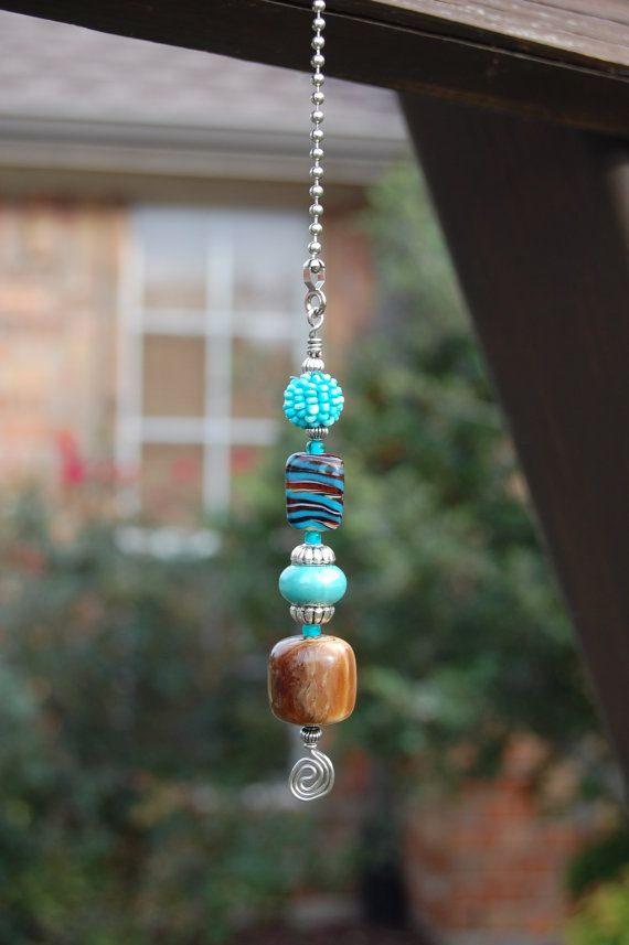 Ceiling Fan Or Light Pull With Decorative Turquoise And