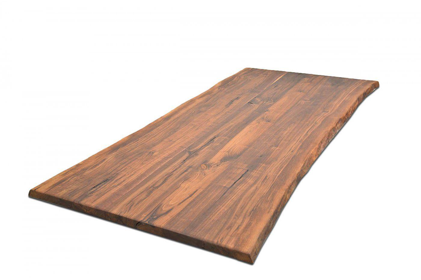 Nussbaum Tischplatte Nach Mass Massiv Mit Baumkante Wohnsektion Nussbaum Tisch Massivholz Tischplatte Tisch