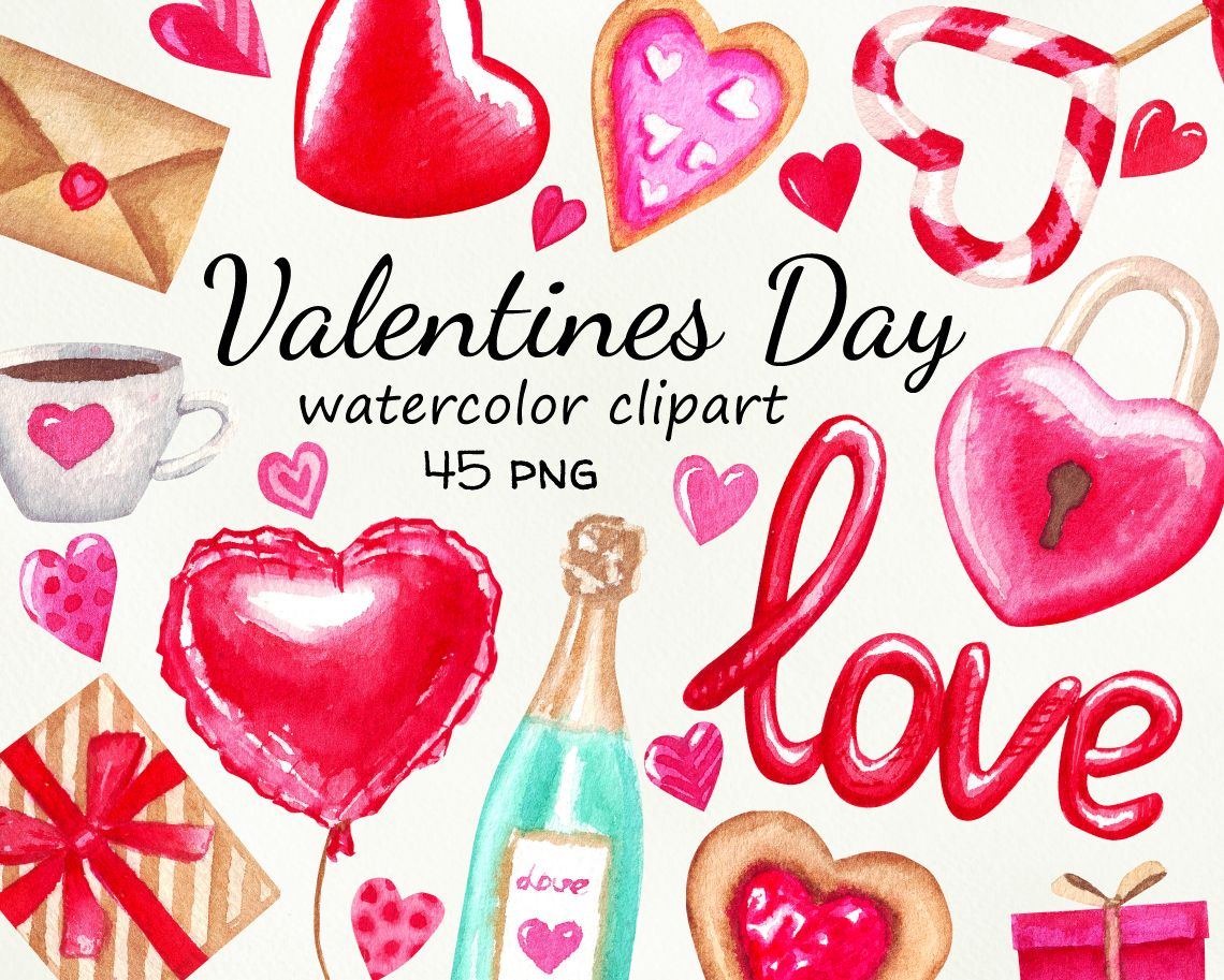 Valentine S Day Watercolor Clipart Heart Present Candy Love Letter Digital Download Love Graphics For Diy Valentine Valentine Clipart Vintage Paper Crafts Valentines Day Clipart