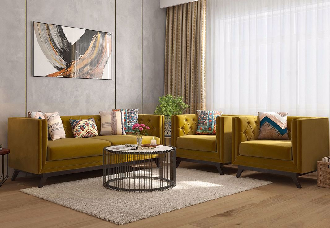 Get Berlin 3 1 1 Fabric Chesterfield Sofa Set In Chestnut Brown Fabric Finish From Woodenstreet Berlin So In 2020 Sofa Couch Design Sofa Set Fabric Chesterfield Sofa